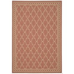 Rust/Sand Geometric Pattern Indoor/Outdoor Rug (6'7