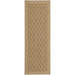 Indoor/ Outdoor Dark Beige/ Beige Runner (2'4 x 6'7)