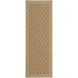 Safavieh Indoor/ Outdoor Dark Beige/ Beige Runner (2'4 x 6'7)