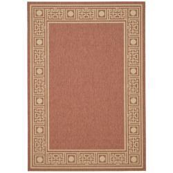 "Safavieh Rust/Sand Indoor/Outdoor Geometric Border Pattern Rug (2'7"" x 5')"