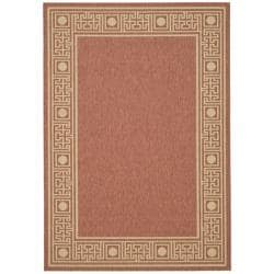 "Rust/Sand Geometric-Border-Patterned Indoor/Outdoor Rug (6'7"" x 9'6"")"