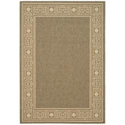 "Safavieh Indoor/ Outdoor Coffee/ Sand Bordered Rug (4' x 5' 7"")"