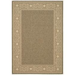 "Indoor/ Outdoor Coffee/ Sand Bordered Rug (4' x 5' 7"")"
