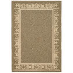 "Safavieh Indoor/Outdoor Coffee/Sand Bordered Rug (6'7"" x 9'6"")"