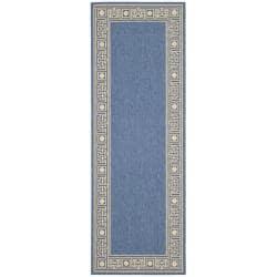 Indoor/ Outdoor Blue/ Ivory Rug (2'4 x 6'7)