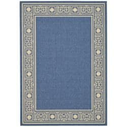 Indoor/Outdoor Blue/Ivory Geometric Rug (2'7 x 5')