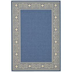 "Indoor/Outdoor Blue/Ivory Polypropylene Rug (6'7"" x 9'6"")"