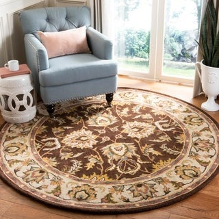 Handmade Heritage Treasure Brown/ Ivory Wool Rug (3'6 Round)