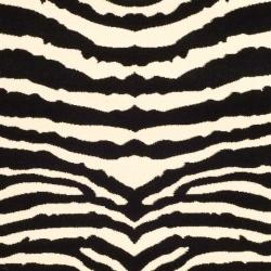 Lyndhurst Collection Zebra Black/ White Rug (5' 3 x 7' 6)