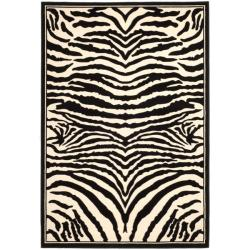 Lyndhurst Collection Zebra Black/ White Rug (6' x 9')