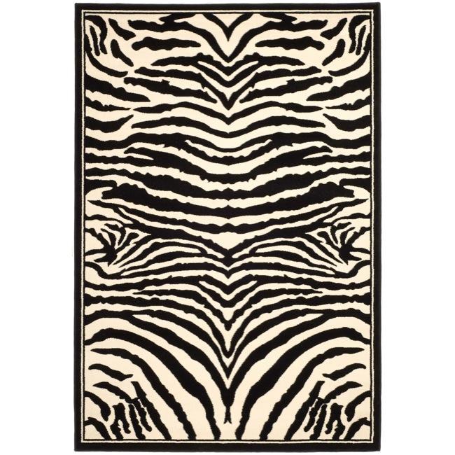 Safavieh Lyndhurst Collection Zebra Black/ White Rug (8' x 11')