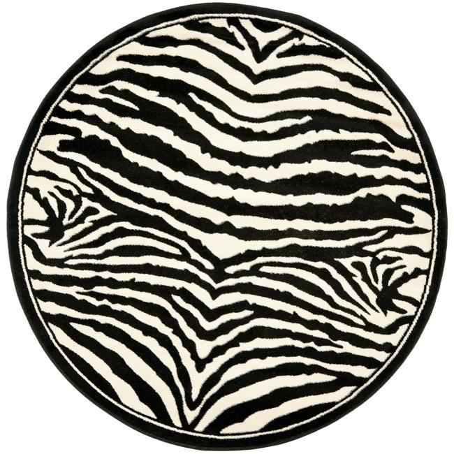 Safavieh Lyndhurst Collection Zebra Black/ White Rug (8' Round)
