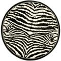 Lyndhurst Collection Zebra Black/ White Rug (8' Round)