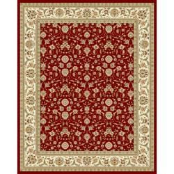 Lyndhurst Collection Floral Burgundy/ Ivory Rug (9' x 12')