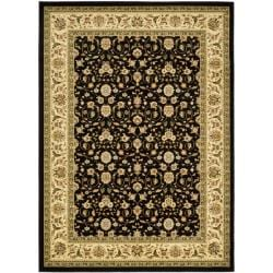 Lyndhurst Collection Traditional Black/Ivory Oriental Area Rug (9' x 12')