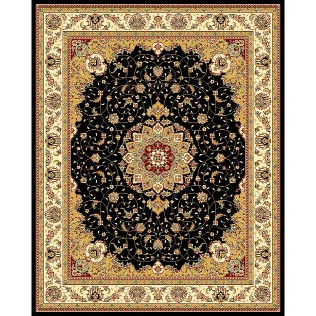 Safavieh Lyndhurst Collection Traditional Black/ Ivory Rug (9' x 12')