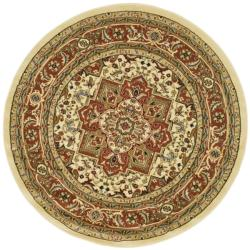 Lyndhurst Collection Ivory/ Rust Rug (5'3 Round)