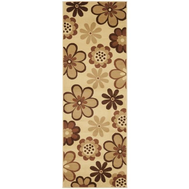 Safavieh Fine-spun Dasies Floral Ivory/ Brown Area Runner (2'4 x 6'7)