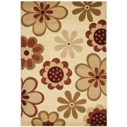 Fine-spun Dasies Floral Ivory/ Red Area Rug (7'10' x 11')