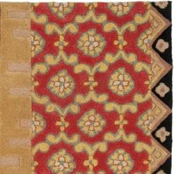 Handmade Rodeo Drive Collage Rust/ Gold N.Z. Wool Rug (6' Square)