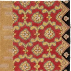 Safavieh Handmade Rodeo Drive Collage Rust/ Gold N.Z. Wool Rug (8' Square)