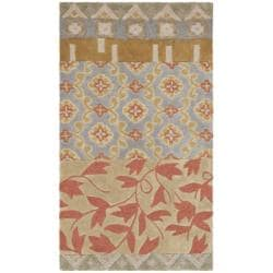 Handmade Rodeo Drive Collage Multicolor N.Z. Wool Rug (3'6 x 5'6)