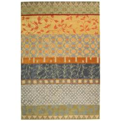 Handmade Rodeo Drive Collage Multicolor N.Z. Wool Rug (7'6 x 9'6)