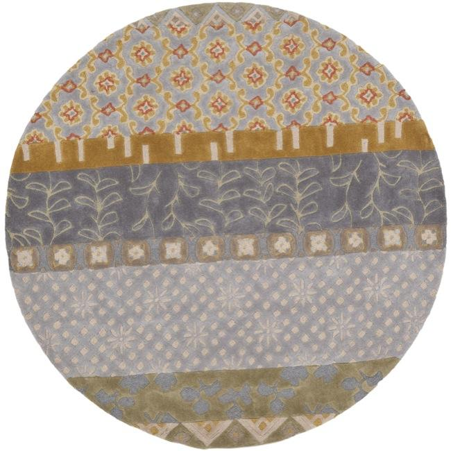 Safavieh Handmade Rodeo Drive Collage Multicolor N.Z. Wool Rug (7'9 Round)