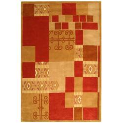 Safavieh Handmade Rodeo Drive Zoey Beige/ Red N.Z. Wool Rug (7'6 x 9'6)