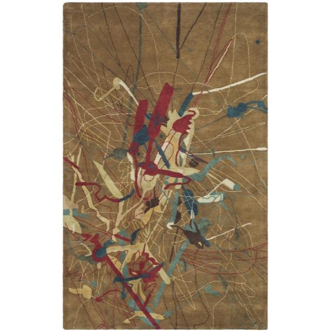 Safavieh Handmade Rodeo Drive Deco Brown N.Z. Wool Rug (3'6 x 5'6)