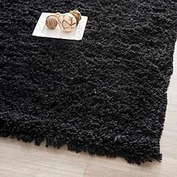 Hand-woven Bliss Black Shag Rug (4' x 6')