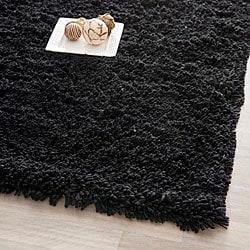Hand-woven Bliss Black Shag Rug (7'6 x 9'6)