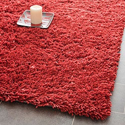 Hand-woven Bliss Rusty Red Shag Rug (2' x 3')