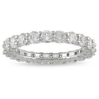 Miadora 18k White Gold 3ct TDW Diamond Eternity Ring (H-I, SI1-SI2) with Bonus Earrings