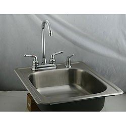 Stainless Steel Topmount Bar Sink and Dual Handle Faucet Set