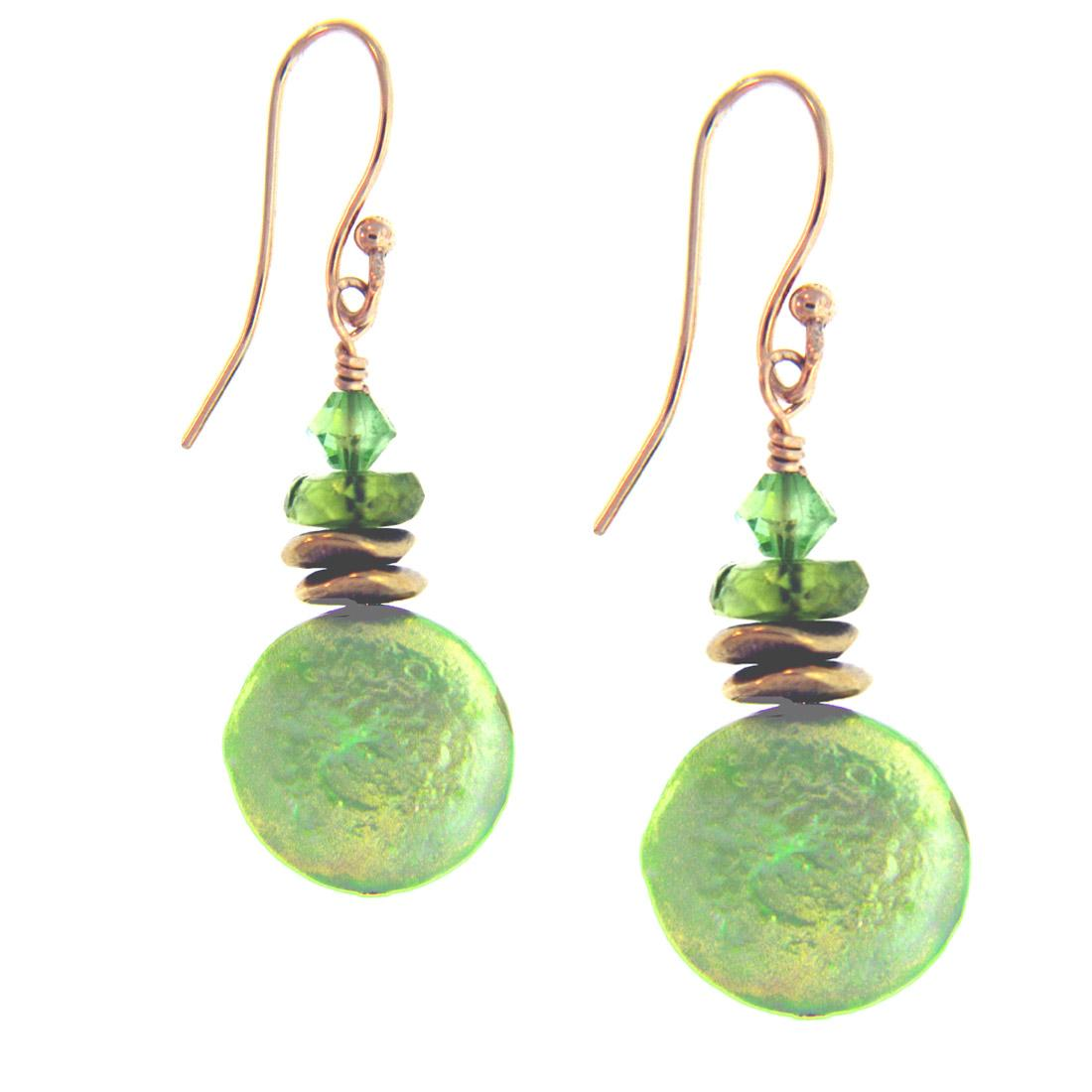 Misha Curtis Seabreeze Green Coin Pearl (flat),and Peridot Earrings (11-12 m