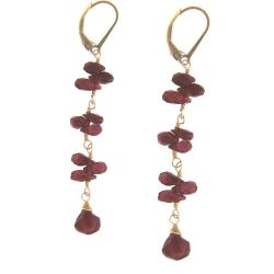 Misha Curtis Goldfill 14-karat Garnet Briolette Earrings