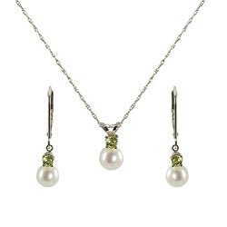 Pearls For You Silver Pearl and Peridot August Jewelry Set (6-6.5 mm)