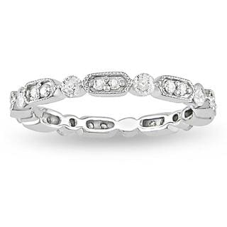 Miadora 10k White Gold 1/2ct TDW Vintage Diamond Band (G-H, I2-I3)