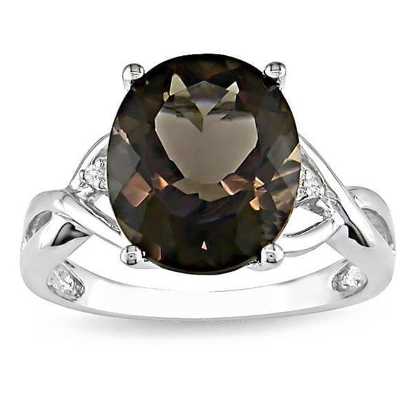 M by Miadora Sterling Silver Smokey Quartz and Diamond Fashion Ring