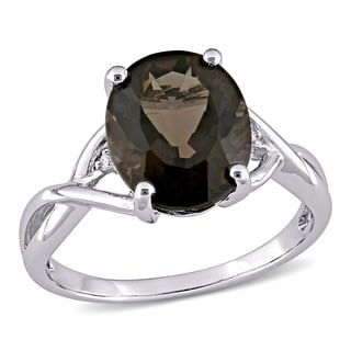 M by Miadora Sterling Silver Smokey Quartz and Diamond Fashion Ring