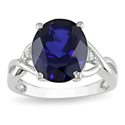Miadora Sterling Silver Created Sapphire and Diamond Fashion Ring