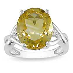 Miadora Sterling Silver Citrine and Diamond Fashion Ring