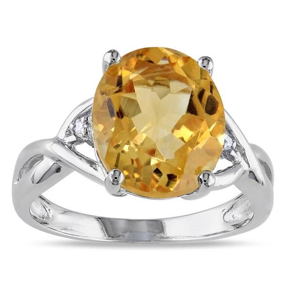 Miadora Sterling Silver Citrine and Diamond Fashion Ring