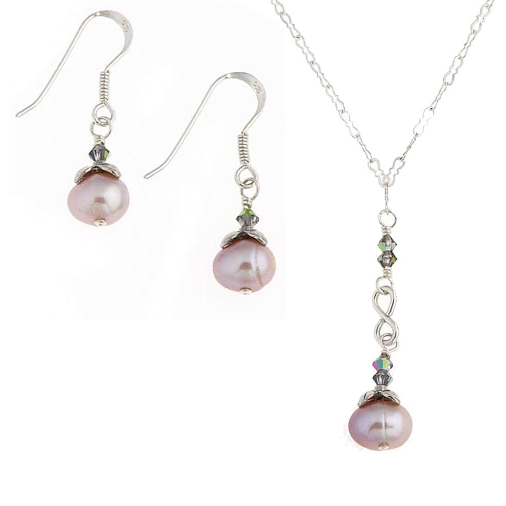 Misha Curtis Silver and Pearl Pendant Jewelry Set