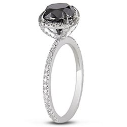 Miadora 10k Gold 2 3/4ct TDW Black and White Diamond Halo Ring (G-H, I2-I3)