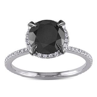Miadora 10k Gold 2 3/4ct TDW Black and White Diamond Halo Ring (G-H, I2-I3)