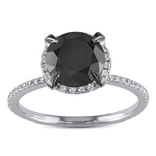 Miadora 10k Gold 2 3/4ct TDW Black and White Diamond Halo Ring (G-H, I2-I3) with Bonus Earrings