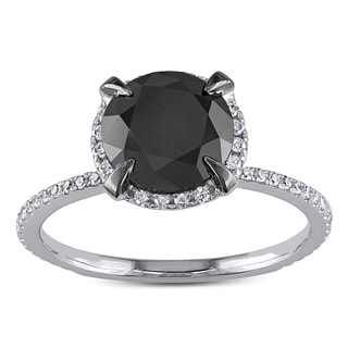 2 3/4 CT Black and White Diamond TW Fashion Ring 10k White Gold GH I2;I3 Black Rhodium Plated