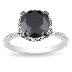 10k White Gold 3 3/4ct TDW Black and White Diamond Ring (G-H, I2-I3)
